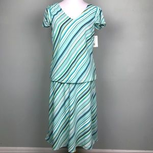 Axcess Blue Green Stripe Top (L) Skirt (16) Set